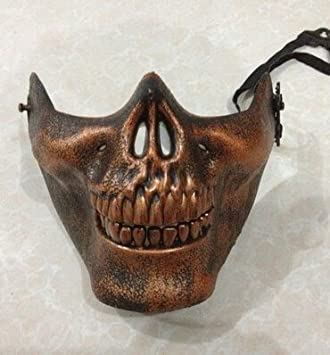 JERKKY Airsoft Skull Mask Mezza Faccia Dev novit/à in Maschera in Maschera per Halloween Masquerade Party Argento