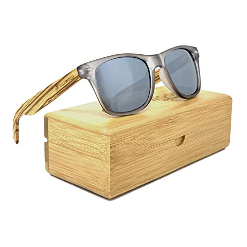 Wildwood Wood Sunglasses for Men and Women with Recycled Frames and Polarized Lenses (Gunmetal with Wooden Case, Silver ()