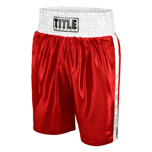 TITLE Edge Boxing Trunks, Red/White, Large Red Boxing Shorts