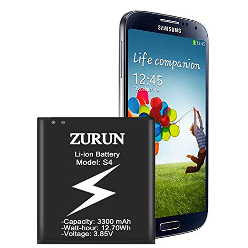Galaxy S4 Battery ZURUN 3300mAh Li-ion Battery Replacement for Samsung Galaxy S4, AT&T I337, Verizon I545, Sprint L720, T- Mobile M919, R970, I9500, I9505, Galaxy S4 LTE I9506 [2 Year Warranty]