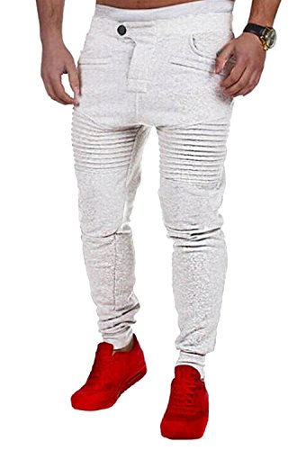 Slim Pants Mode Sweat Confortable Blanc De Unie Homme Printemps Couleur Pantalon Jogging Minetom Sportswear Respirant Survêtement Été qZ7SWO
