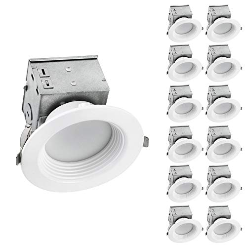 OSTWIN (12 Pack) 4 inch IC Rated LED Ceiling Recessed Downlight Kit With Junction box, Baffle Trim, Dimmable, 10W(75Watt Repl) 5000K Daylight, 750Lm. No Can Needed ETL and Energy Star Listed