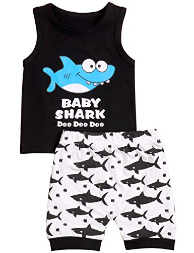 Baby Boy Girl Clothes Shark and Doo Doo Print Summer Cotton Sleeveless Outfits Set Tops and Short Pants 6-12 Months -
