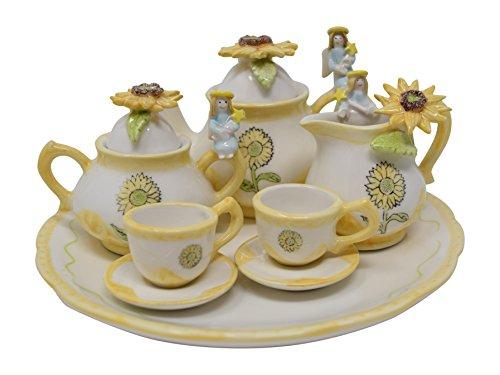 10 Piece Sunflower and Angel Tea Set with Teapot, Sugar, Creamer, Two Cups and Saucers, and Plate