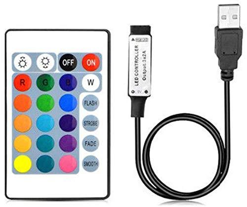 RGBZONE 1m USB DC 5V Inline IR Controller with 24 Key Wireless Controller for 5050 3528 RGB LED Light Strip