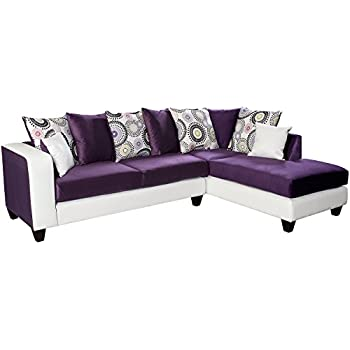 Flash Furniture Riverstone Implosion Purple Velvet Sectional