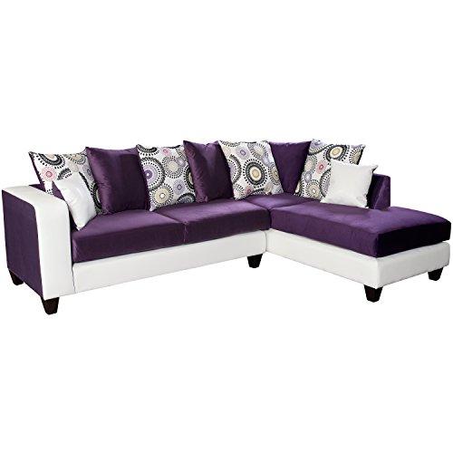 Flash Furniture Riverstone Implosion Velvet Sectional Sofa, Purple