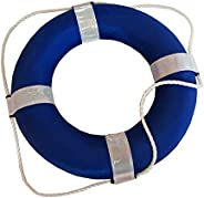 Blue and White Foam Ring Buoy for Swimming Pools 19 inch with Perimeter Rope