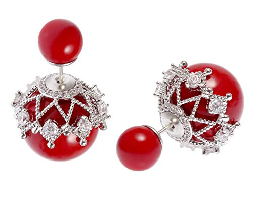 MISASHA Fashion Jewelry Red Faux Imitation Pearl Double Ball ()