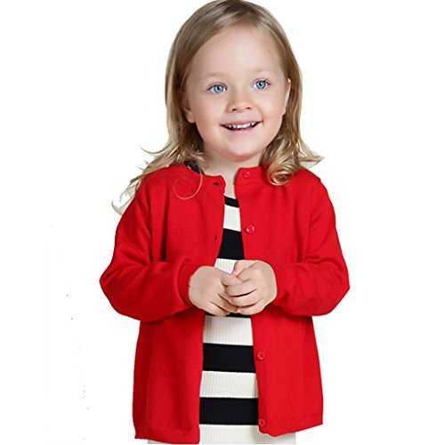 Wennikids Baby Girls' Little Knit Cardigan Button Sweater for 12M-6T Large (Toddler Girls Red Sweater)