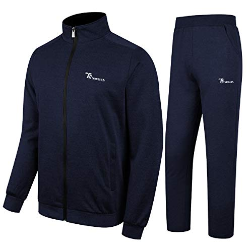 TBMPOY Men's 2 Piece Jacket & Pants Woven Warm Jogging Gym Activewear(02 Navy,US XL) ()