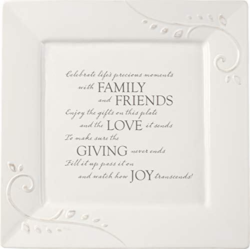 Precious Moments Giving Plate Ceramic 189002 Serving Platter, 10in x 10in, White (Platters Sale Christmas)