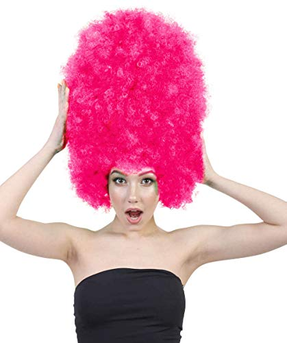 Halloween Party Online Super Size Jumbo Afro Wig Collection, Adult & Kids (Adult, Neon Pink)