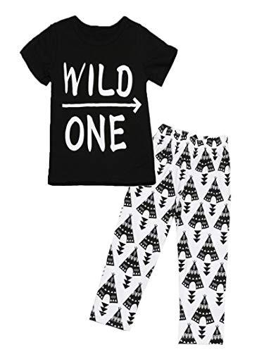 0-24 Months Fashion Baby Set Casual Short Sleeve Letter Print T-Shirt +Geometric Pattern Pants Boys Clothing Suit