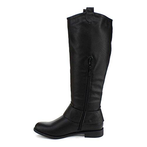 Dbdk Womens Jencly-2 Stivali Alti Da Equitazione Con Fibbia Nera