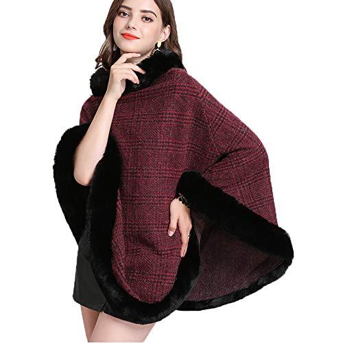 FOLOBE Womens Faux Bont Trui Poncho Oversized Cape Elegante Wrap Sjaal met Faux Bont Trim Kraag
