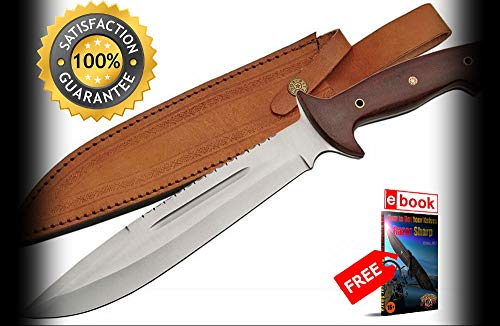 FIXED BLADE HUNTING SHARP KNIFE 15'' Micarta Handle Full Tang Skinner with Leather Sheath Combat Tactical Knife + eBOOK by Moon Knives