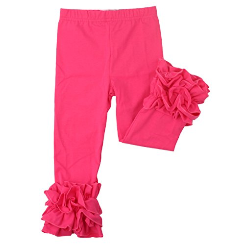 (Slowera Little Girls' Ruffle Leggings Baby Toddler Solid Color Flower Pants (Hot Pink, XXS: 6-12)