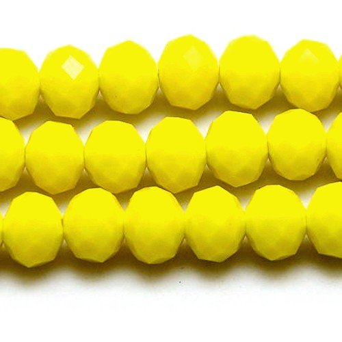 (70+ Yellow Czech Crystal Opaque Glass 6 x 8mm Faceted Rondelle Beads HA20910 (Charming)