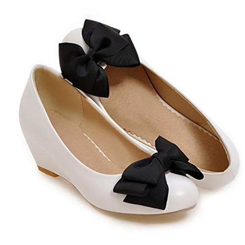 COOLCEPT Zapatos Mujer Dulce Bow Vestir Bombas Zapatos Mid Tacon de Cuna Colegio Zapato For Daughter Blanco