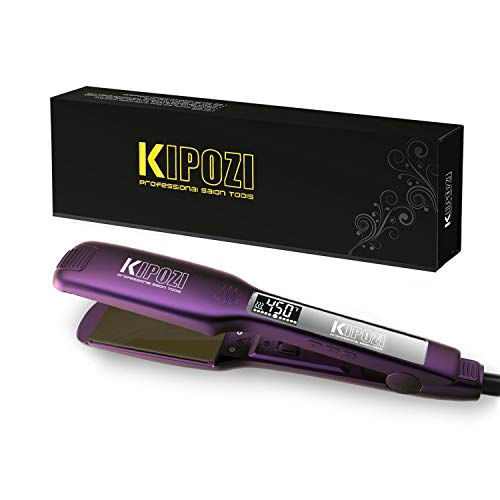 KIPOZI Professional Hair Straightener - 1.75 Inch Dual Voltage Titanium Flat Iron with Digital LCD Screen and Adjustable Temp Setting for All Kinds of Hair, Heats up Instantly, Purple