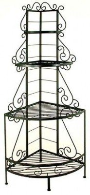 Bronze Dining Room Bakers Rack (Antique Bronze French Corner Baker's Rack with Brass Tips (Antique Bronze) (83