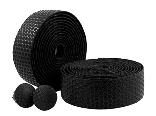 MARQUE Hex Grip Road Bike Handlebar Tape – 2PCS per set (Black) (Road Bike Bar Grips)