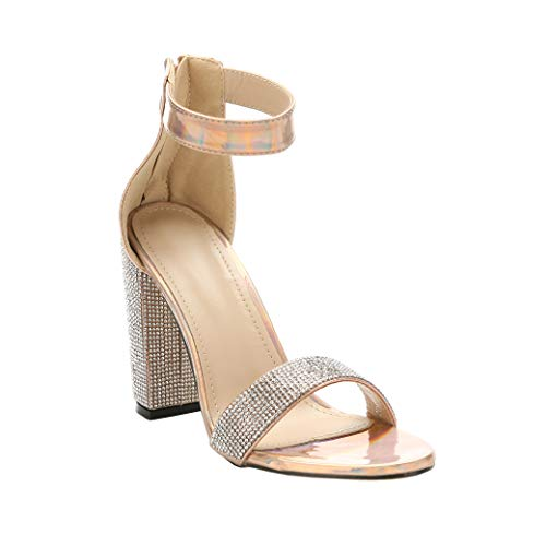 - ARIES Womens Ankle Strap Chunky Block High Heel Sandals Cute high Heels (6.5 M US, Nude)