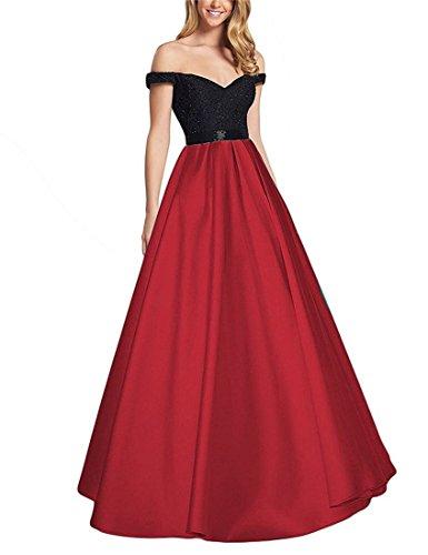 Dreagel Off Robes De Bal Épaule Perles Longues Robes Formelles Balle Rouge Foncé Des Femmes