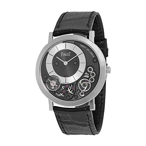 Piaget Altiplano Black and Silver Dial 18kt White Gold Black Leather Mens Watch G0A39111
