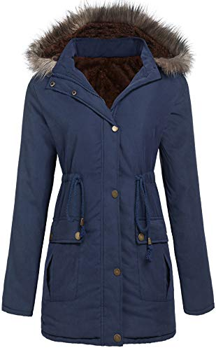SoTeer Womens Winter Warm Hoodie Plus Size Parka Long Faux Fur Lined Coats (Navy Blue, XL)