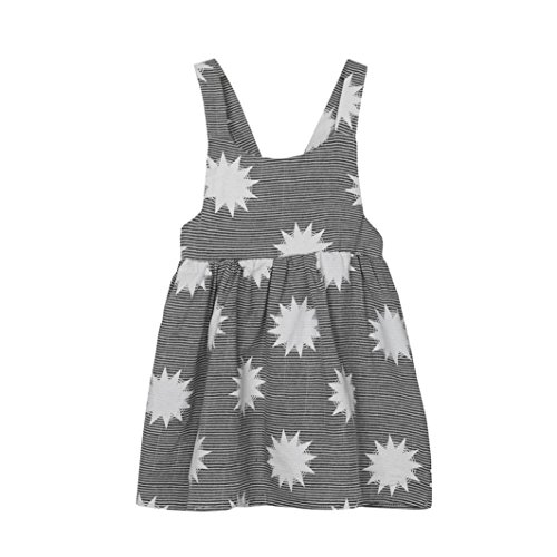 - Vovotrade Toddler Girls Summer Sleeveless Beach Sundress Star Stripe Dress (2T, Gray-A)