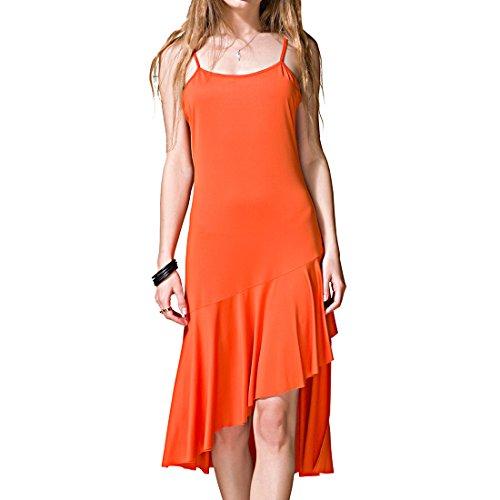 Klaiyi Women Summer Elastic Spaghetti Straps Sundress Sleeveless Slip Dress (S, Orange)