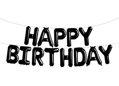 SGODA Happy Birthday Foil Letter Balloons Black]()
