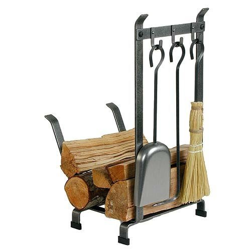 Enclume Country Home Log Rack with Fireplace Tools, Hamme...