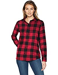 Women's Long-Sleeve Classic-Fit Lightweight Plaid Flannel...
