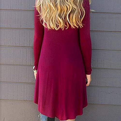 Pleine Moulante Manche Longueur Robe Femme 1 Maxi Aimage Col Casual Rond Vin Rouge Longue bf6Ygy7v