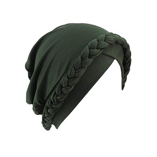 - Qianmome Islamic Prayer Turban Hats Muslim Turban Inclusive Cap Women Double Color Hijab Braids Caps (Single Braid Green)