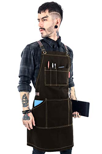 Under NY Sky Essential Chocolate Brown Apron - Cross-Back with Durable Twill and Leather Reinforcement, Adjustable for Men and Women - Pro Chef, Tattoo Artist, Baker, Barista, Bartender, Server Aprons