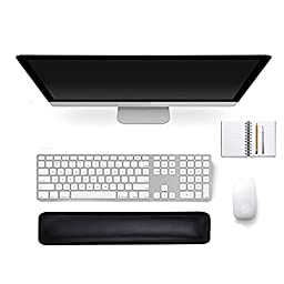 Stanaway Keyboard Wrist Pad Comfortable Keyboard Cushion Rubber Palm Support Wrist Rest Pad for Laptops/ Notebooks/ MacBooks/PC/Computer Black (450*90*20MM)