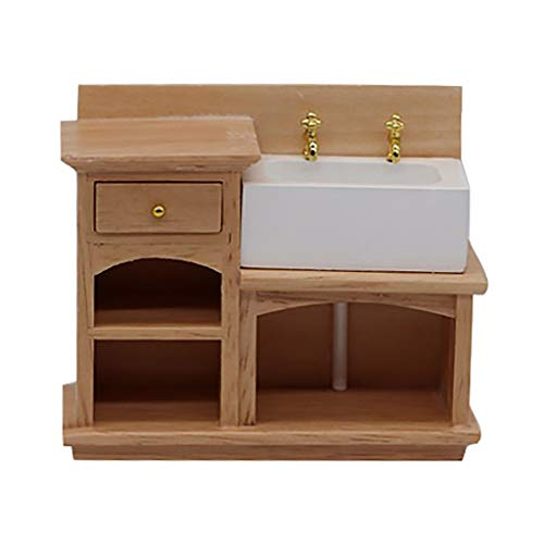 m·kvfa 1:12 Mini Dollhouse Furniture Miniature Wooden Stove Sink Cabinet Cupboard Doll House Living Room Kitchen Decor Pretend Toys for Kids from *m·kvfa* Dollhouse
