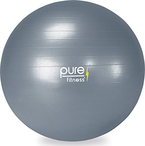 Pure Fitness Anti-Burst Core Exercise Stability Ball with Hand Pump, 75 cm, Grey
