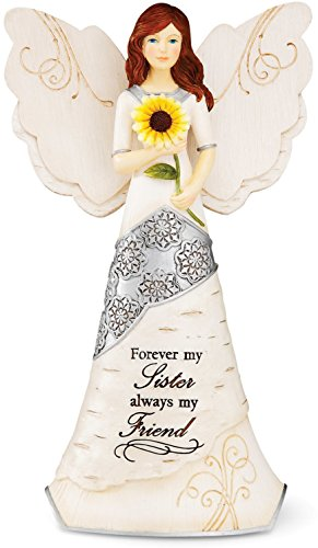 Elements Angel Statue - Elements Sister Angel Figurine by Pavilion, 6-1/2-Inch, Holding Sunflower, Inscription Forever My Sister Always My Friend