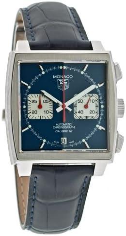 TAG Heuer Men s CAW2111.FC6183 Monaco Calibre 12 Automatic Chronograph Blue Alligator Strap Watch