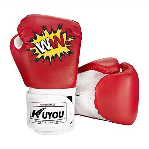 KUYOU Kids Boxing Gloves, Pu Kids Children Cartoon Sparring Boxing Gloves Training Age 5-12 Years (Red)
