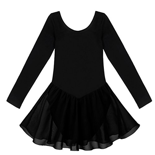 FEESHOW Child Girls Long Sleeve Gymnastic Ballet Leotard Dance Dress Black 5-6
