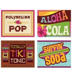 Tiki Luau Aloha Summer Party 2-Liter Soda Bottle Labels (4 labels)