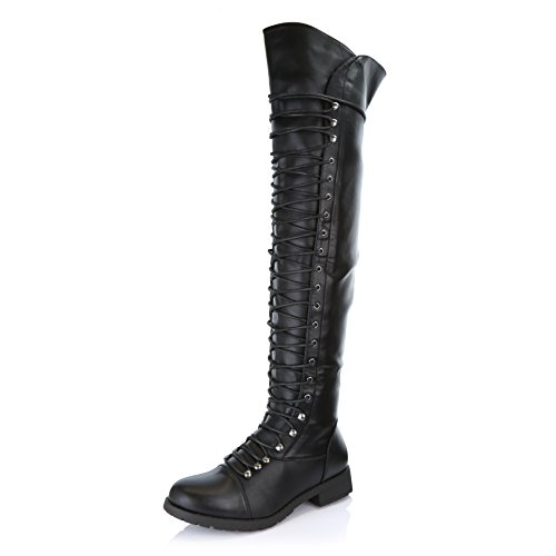 DailyShoes Women's Lace up Thigh High Boots - Vegan Easy Lace up Design with Zipper Trendy Mility Style Boot, Black PU, 8 B(M) (High Leg Leather Boots)