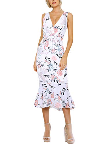 (HOOYON Women's Dress Summer Floral Print V-Neck Sleeveless Elegant Mermaid Midi Dress Pink M)