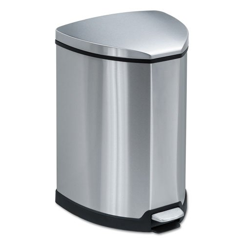 Safco® - Step-On Waste Receptacle, Triangular, Stainless Steel, 4 gal, Chrome/Black - Sold As 1 Each - No need to touch container to open it.